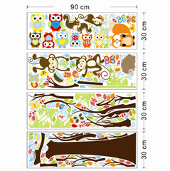 Forest Cute Monkeys Playing On Tree Sticker