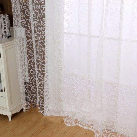Chic Room Floral Tulle Scarf Curtain