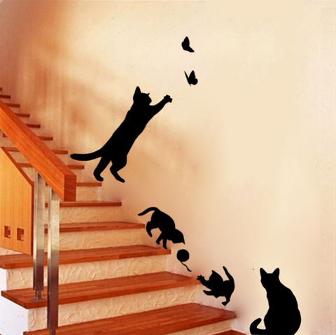 Cat and Butterflies Play Wall Sticker