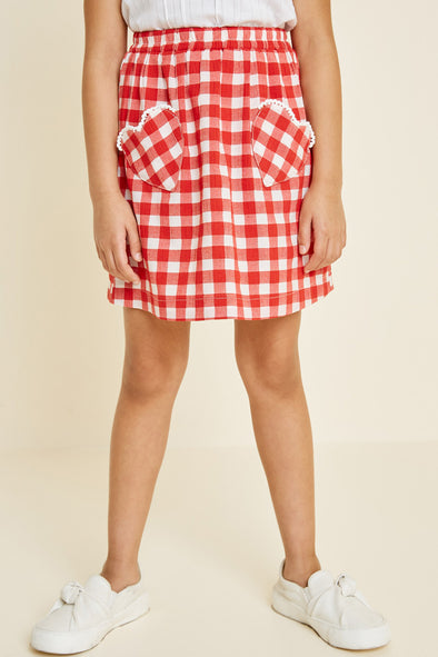 gingham heart pocket skirt Red 4