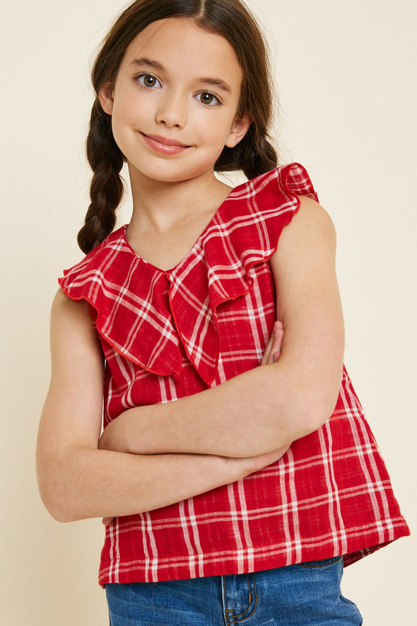 Red Plaid Ruffle Collar Tank Front