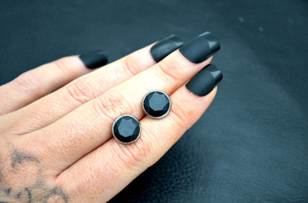 BLACK ONYX: 10mm Faceted Crystal Stud Earrings