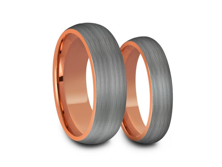 6MM/8MM BRUSHED GRAY TUNGSTEN WEDDING BAND SET DOME AND ROSE GOLD INTERIOR - Vantani Wedding Bands