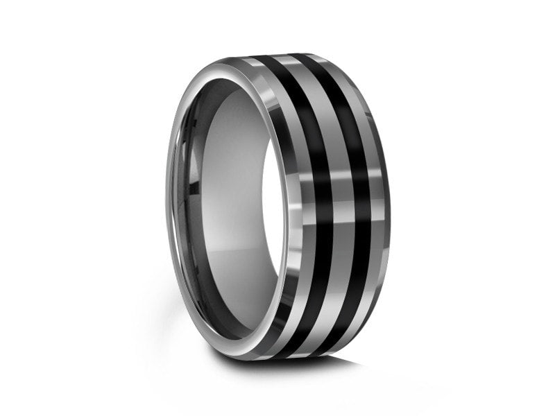 8MM TUNGSTEN WEDDING BAND WITH BLACK ENAMEL LINES AND GRAY INTERIOR - Vantani Wedding Bands