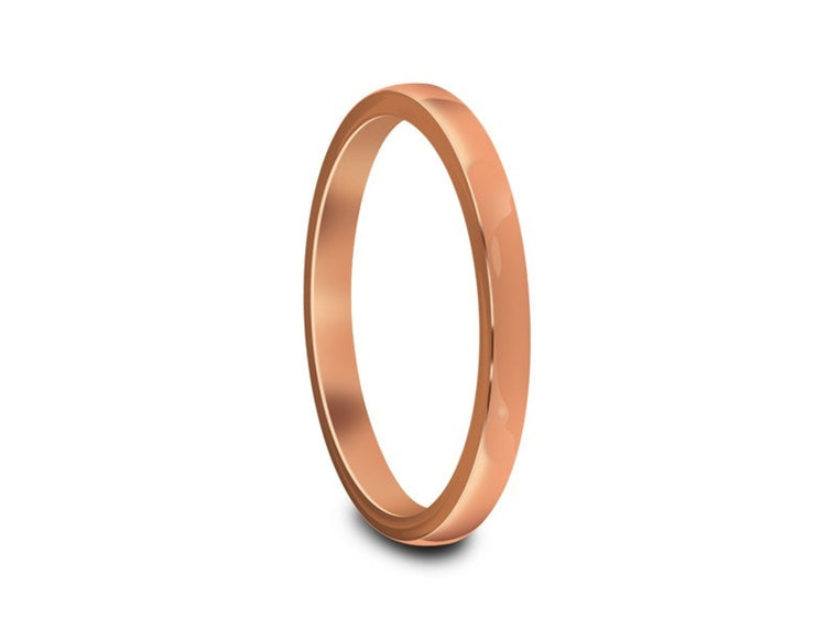 2MM HIGH POLISH ROSE GOLD TUNGSTEN WEDDING BAND FLAT AND ROSE GOLD INTERIOR - Vantani Wedding Bands