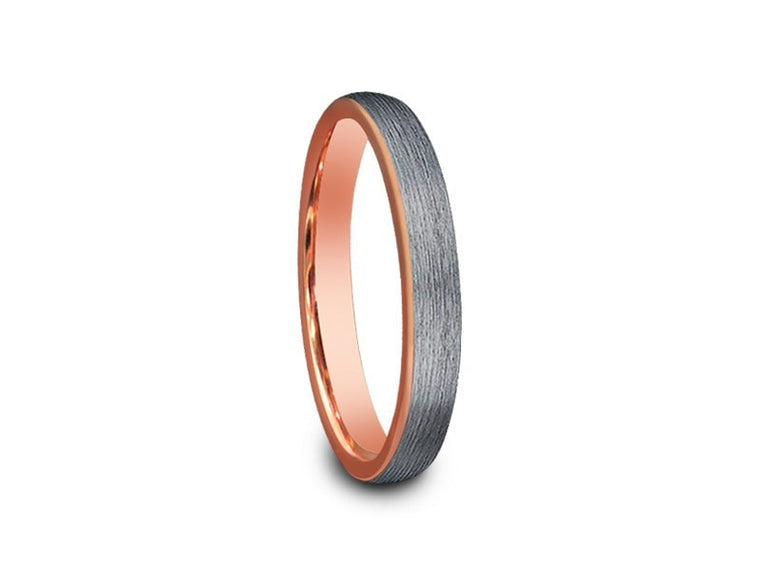 3MM BRUSHED GRAY TUNGSTEN WEDDING BAND DOME AND ROSE GOLD INTERIOR - Vantani Wedding Bands