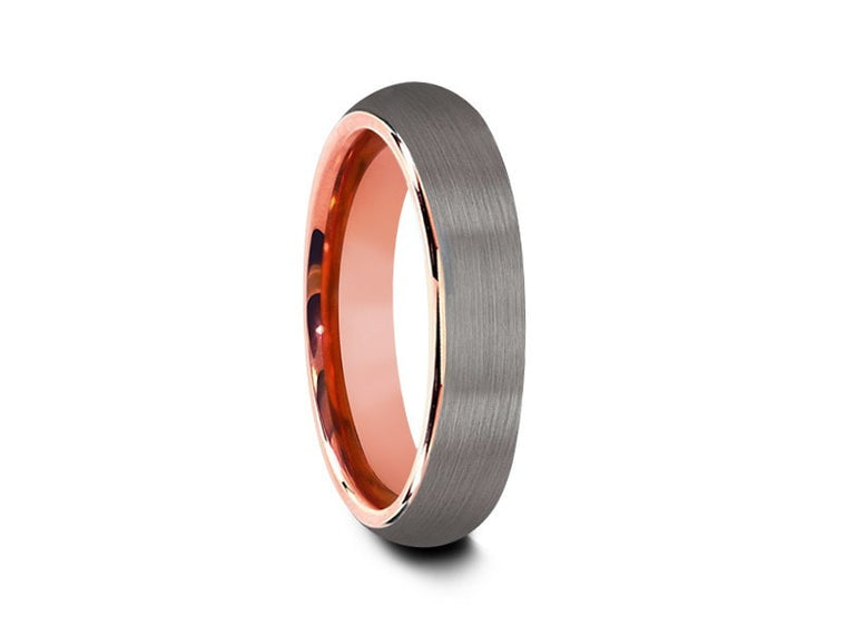 6MM BRUSHED GRAY TUNGSTEN WEDDING BAND DOME AND ROSE GOLD INTERIOR - Vantani Wedding Bands