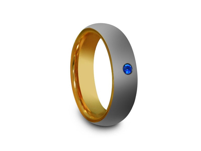 6MM HIGH POLISH GRAY TUNGSTEN WEDDING BAND CENTER BLUE CZ AND YELLOW GOLD PLATED INTERIOR - Vantani Wedding Bands