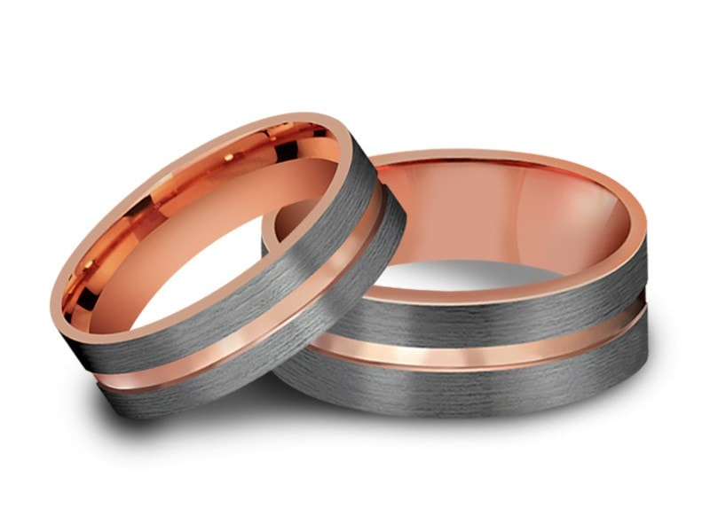 6MM/8MM BRUSHED GRAY FLAT TUNGSTEN WEDDING BAND SET ROSE GOLD CENTER AND ROSE GOLD INTERIOR - Vantani Wedding Bands