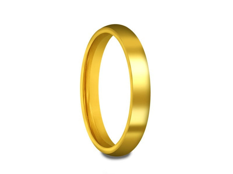 3MM HIGH POLISH YELLOW GOLD PLATED TUNGSTEN WEDDING BAND DOME AND YELLOW INTERIOR - Vantani Wedding Bands