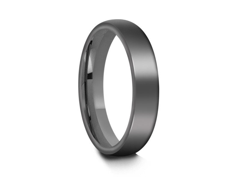 4MM HIGH POLISH GRAY TUNGSTEN WEDDING BAND DOME AND GRAY INTERIOR - Vantani Wedding Bands