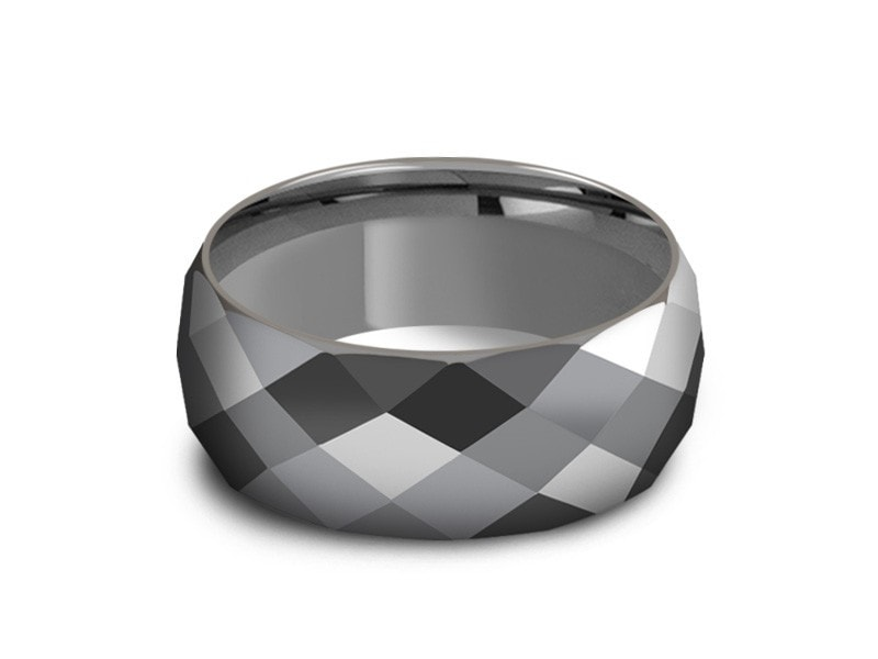 8MM HIGH POLISH GRAY TUNGSTEN WEDDING BAND FACETED AND GRAY INTERIOR - Vantani Wedding Bands