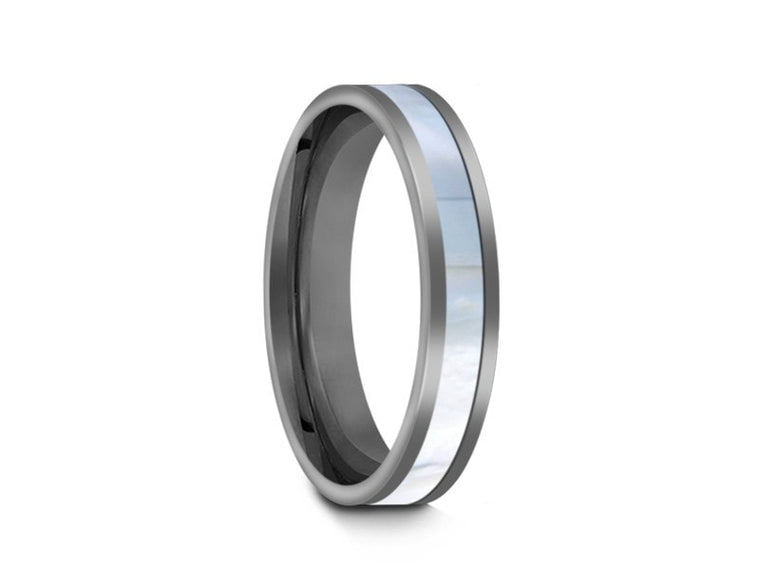 4MM MOTHER OF PEARL TUNGSTEN WEDDING BAND FLAT AND GRAY INTERIOR - Vantani Wedding Bands