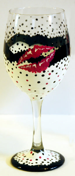 Kiss Wine Glass - Janelle Patterson Art