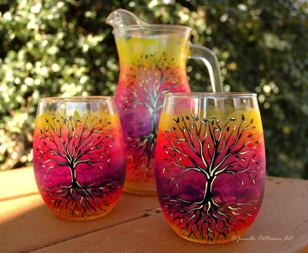 Tree of Life Hand Painted Pitcher - Janelle Patterson Art