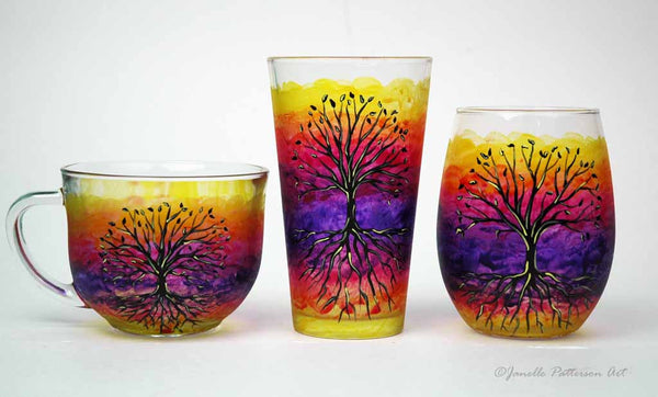 Tree of Life Hand Painted Pint Glass - Janelle Patterson Art