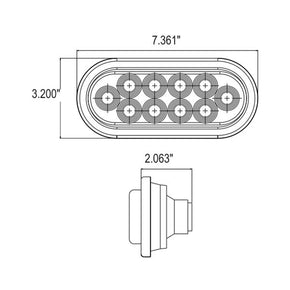 8045 - 10 LED Oval Sealed Light, with  grommet for mounting (12/24 V)