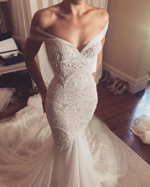 Off Shoulder Mermaid Exquisite Beaded Low Back Sexy Wedding Dress - FlosLuna
