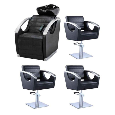 Dream In Reality DIR Bella II Backwash Unit + 3x Bello Styling Chairs Salon Package Hair Salon Package - ChairsThatGive
