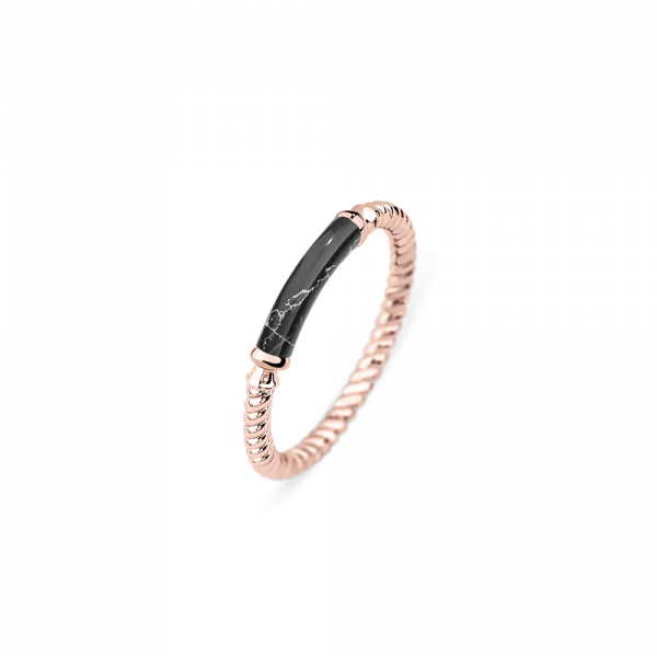 Paul Hewitt-Ring Rope Starboard IP RG / Black Marble-Jewellery-THE UNIT STORE