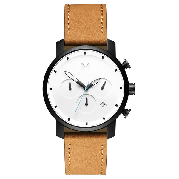 MVMT-Mens Chrono White Black Tan 45 mm-Watch-D-MC01-WBTL-THE UNIT STORE