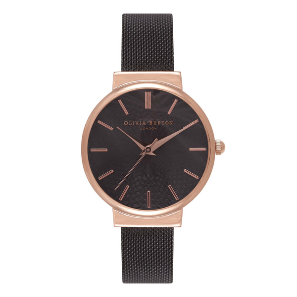 OLIVIA BURTON-The Hackney Black Dial Ip Black Mesh & RG-Watch-OB15TH19-THE UNIT STORE