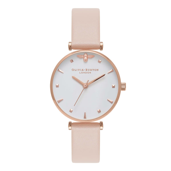 OLIVIA BURTON-Queen Bee Mini Moulded Bee Nude Peach & RG-Watch-OB16AM95-THE UNIT STORE