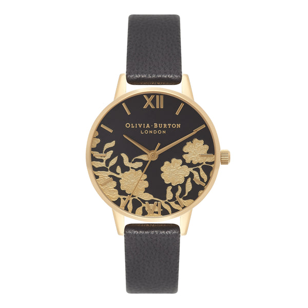 Lace Detail Black & Gold Midi__OLIVIA BURTON_Watch_THE UNIT STORE