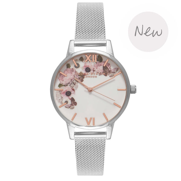 OLIVIA BURTON-Enchanted Garden Silver Mesh-Watch-OB16WG30-THE UNIT STORE