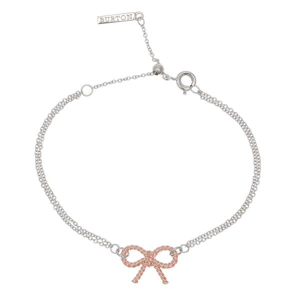 OLIVIA BURTON-Vintage Bow Chain Bracelet Silver & Rose Gold-Jewellery-OBJ16VBB04-THE UNIT STORE