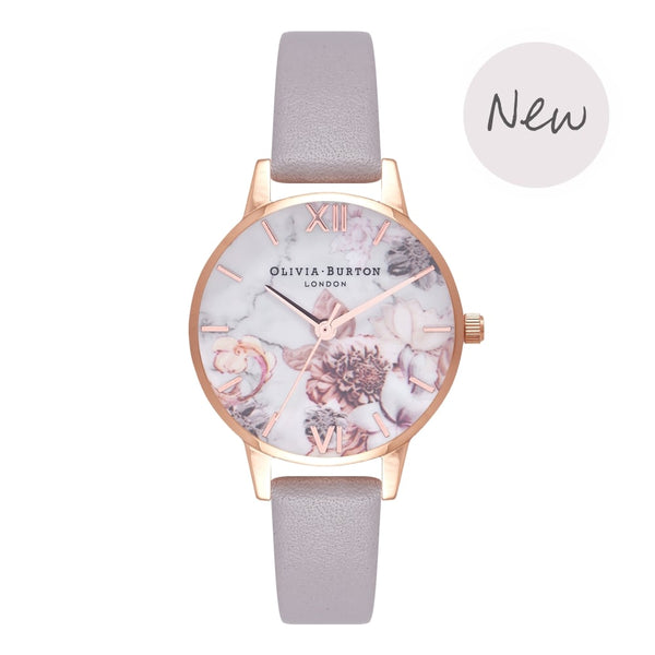 OLIVIA BURTON-Marble Florals Grey Lilac & Rose Gold-Watch-OB16CS14-THE UNIT STORE