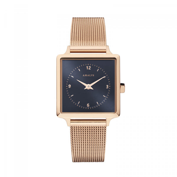 Amalys-Margot Sunray Navy Blue/Rose Gold/Rose Gold Mesh/25mm-Watch-AMW-004-THE UNIT STORE