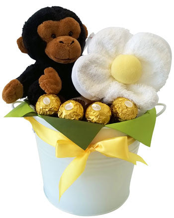 Baby Shower Basket Monkey and Face Washer Set