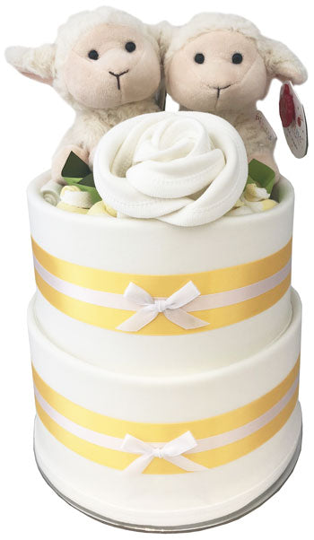 My Little Twins Nappy Cake - Unisex Pippins Lambs