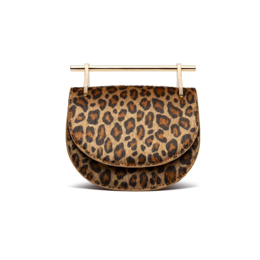 Ava Half Moon Clutch (Leopard/Yellow Gold)