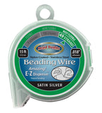 49 Strand Beading Wire, Satin Silver 15ft .018""
