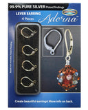 Adorna Pure Silver Plated Lever Back Earring Hooks For Jewelry Making, 4 Pieces