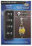 Adorna Pure Silver Plated Ear Post With Nuts Earring Findings, 4 pieces