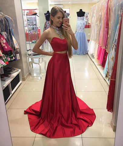 2 Pieces Sweetheart Neck Red Satin Long Prom Dress, Red Formal Dress, Red Graduation Dress
