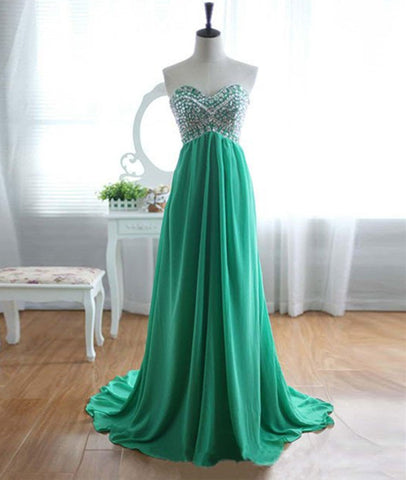 A-Line Strapless Sweetheart Neck Green Chiffon Long Prom Dresses, Green Evening Dresses