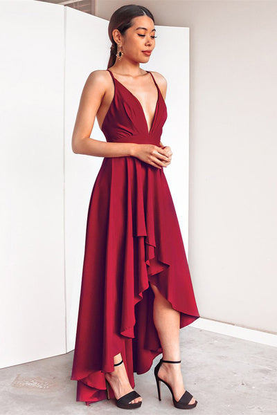 A Line High Low V Neck Backless Burgundy Prom Dresses, High Low Burgundy Formal Dresses, Burgundy Backless Evening Dresses