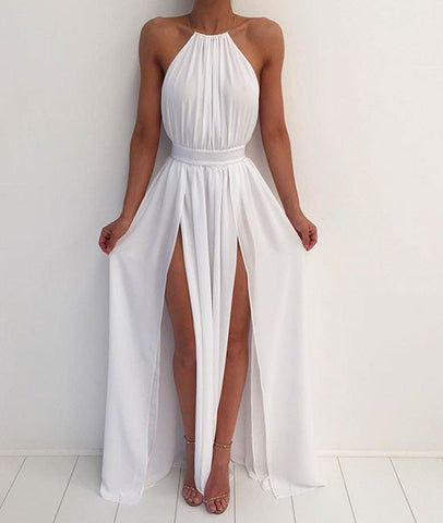 A Line High Neck Backless White Prom Dresses, White Formal Dresses, Backless Bridesmaid Dresses