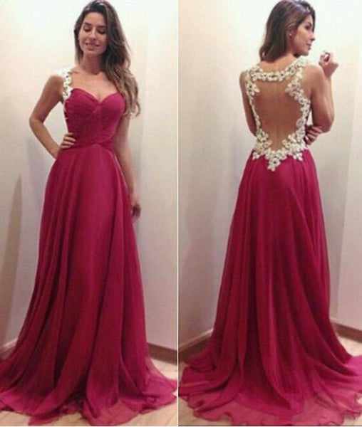 A Line Sweetheart Neck Lace Red Prom Dresses, Lace Red Formal Dresses