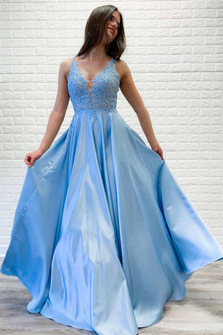 A Line V Neck Light Blue Lace Long Prom Dresses, Light Blue Lace Formal Dresses, Lace Light Blue Evening Dresses