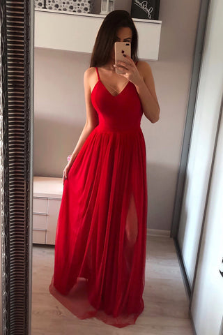 A Line V Neck Red Long Prom Dresses, V Neck Red Formal Dresses, Red Evening Dresses