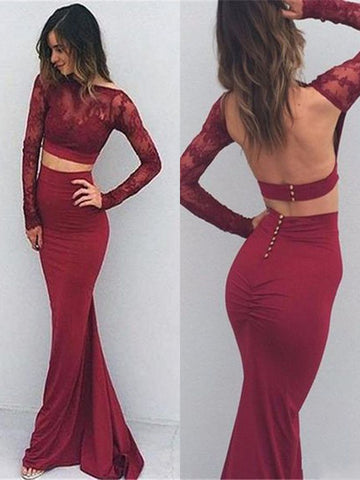 Burgundy Mermaid Two Pieces Long Sleeve Backless Lace Long Prom Dresses, Mermaid Burgundy Formal Dresses, Two Pieces Lace Burgundy Evening Dresses