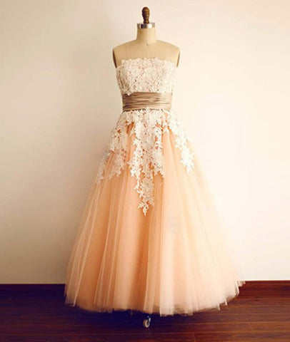 Champagne Tulle Lace Tea Pearl Prom Dresses, Lace Wedding Dresses