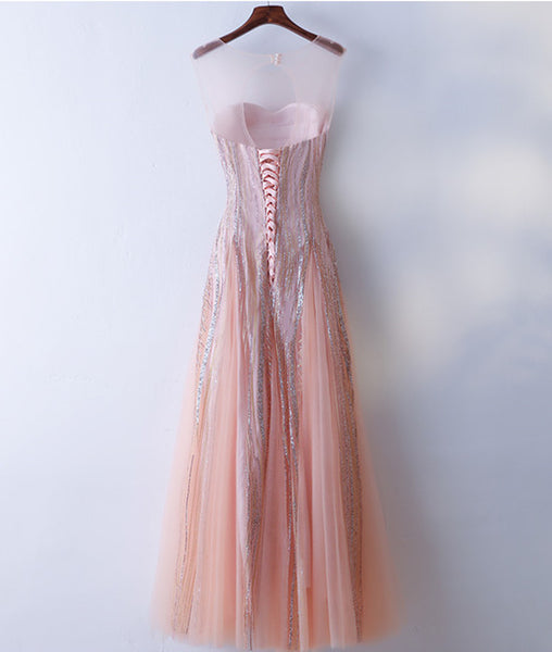 Custom Made Round Neck Lace Pink Prom Dresses, Lace Pink Formal Dresses, Evening Dresses