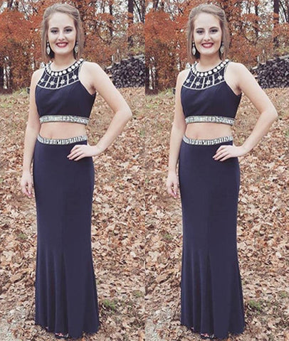 Round Neck Beaded Two Pieces Sleeveless Navy Blue Long Prom Dresses, Sleeveless Navy Blue Formal Dresses