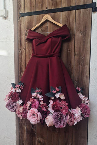 Off Shoulder 3D Flowers Burgundy Homecoming Dresses Short Prom Dresses with Appliques, Off Shoulder Burgundy Graduation Dresses, Formal Dresses